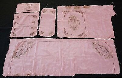 Virginia Snow Studios 1920s Pink Pillow Uncut Cases Vintage 20s Boudoir Set of 5