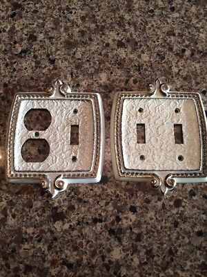 Vintage Light Switch Covers Cream With Gold Metal