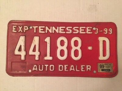 44188-D state of Tennessee auto dealer red license plate 1999 Lawrence County