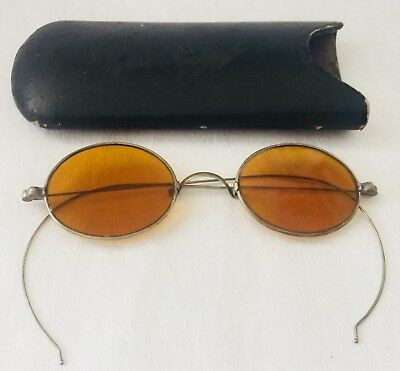 Antique SILVER Tone CIVIL WAR FRANKLIN Looking AMBER TINT Spectacles + Case
