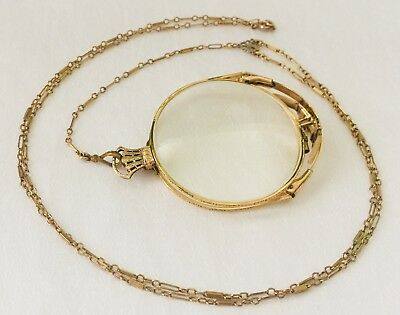 ANTIQUE 1/10 12K GOLD Filled KREMENTZ OXFORD FOLDING Nez SPECTACLES with CHAIN