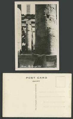 Egypt Old Real Photo Postcard Karnak, The Hypostyle Hall, Carvings, Temple Ruins