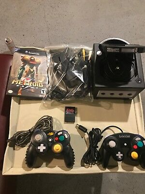 Nintendo gamecube console bundle (black) With 2 Controllers and Metroid Prime