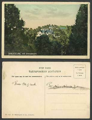 India Old Colour Postcard DARJEELING, THE SHRUBBERY, Panorama D. Macropolo & Co.
