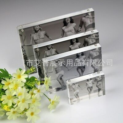Small Freestanding Polished Clear Acrylic Magnetic Picture Photo Frame 3inch