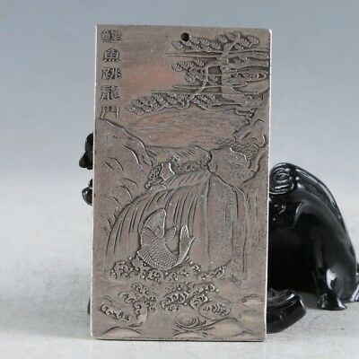 """Tibet Silver Hand Carved """"The Carp Has Leaped Through The Dragon's Gate"""" Pendant"""