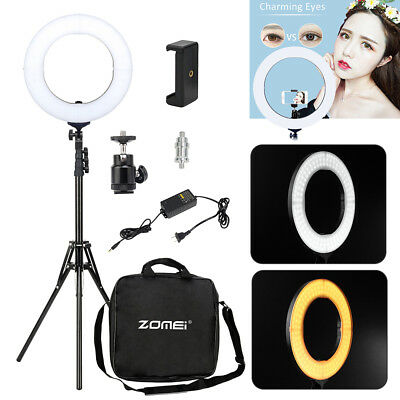 "ZOMEI 14"" Make up LED Photography Ring Light Dimmable Tripod Stand for Camera"