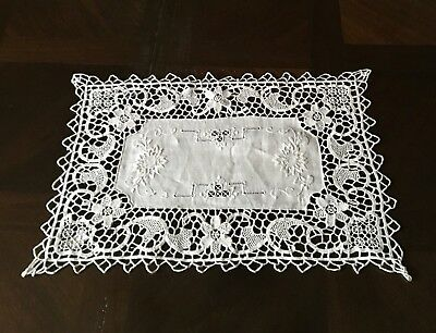 Hand Made Reticella Lace & Embroidery Place Mats/doilies Beige Oblong 10 Pc. Set