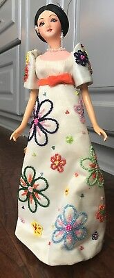 """Vintage Rosas Doll 12"""" Beautiful Condition On Wood"""