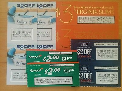 $20 Off Cigarette Coupons Pall Mall Parliament Virginia Slims Newport