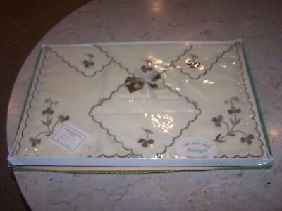 Never Used Irish Linen Donegal Embroidered 8pc Luncheon Set /4 Mats & 4 Napkins