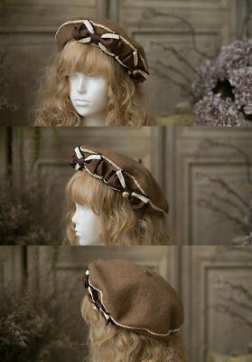 5b6081f14b15a Twin Bowknots Vintage Mori Girls Beret Cap Painter Hat Lolita Winter Gift