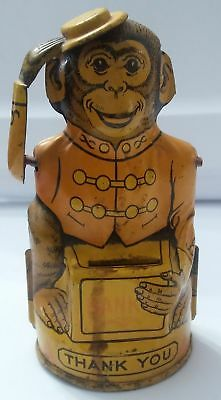 Vintage 1930's J Chein & Co USA Tin Yellow Monkey Tipping Hat Coin Tip Bank Toy