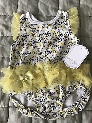 Kyle and Deena Baby Girl Black And Yellow Romper With Tutu 0-3 Months