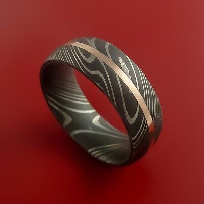 HUNTEX Unique Damascus Ring with Brass Inlay Ring Size 11 Mens Jewellery Gift