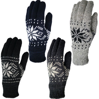 Mens Winter Warm Snowflake Knit Wool Touch Screen Full Finger Gloves Mitten