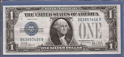 1928 B $1 Silver Certificate,Funny Back Note,Blue Seal,Circulated Crisp VF,Nice!