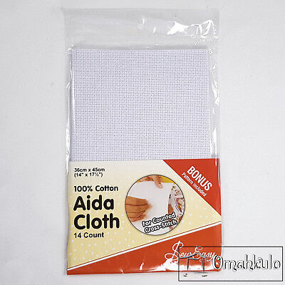 SEW EASY - Aida Cloth 14 Count - 100% Cotton - 36cm x 45cm - White