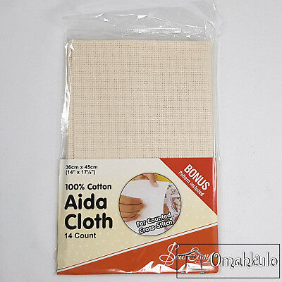 SEW EASY - Aida Cloth 14 Count - 100% Cotton - 36cm x 45cm - Ecru