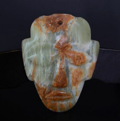 Chinese QiJia Culture Style Sacrificial Ceremony Large Jade Plain Mask-JR12488