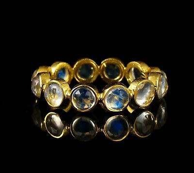 VINTAGE RARE NATURAL 3.0ct MOONSTONE SOLID 18K GOLD STACKABLE ETERNITY BAND RING