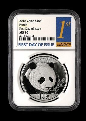 NGC MS70 2018 Silver Panda Coin 30gram First Day Issue Spots