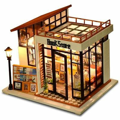 Diy Doll House Miniature Wooden Book Store Furniture Kit Toy Kids Christmas Gift