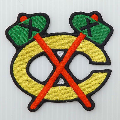 "2.5/8""X1p. chicago blackhawks tomahawk ice hockey embroidered iron on sew patch"