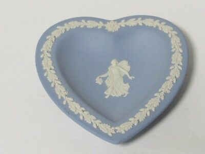 Vtg Wedgwood Blue Jasper Ware Heart Shaped Trinket Pin Dish
