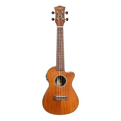 NEW Tiki Solid Koa Top Electric Cutaway Concert Ukulele w/ Hard Case (Satin)