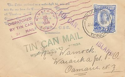 Toga: Blechdosenpost - to New Zealand 1936, Tin can Mail