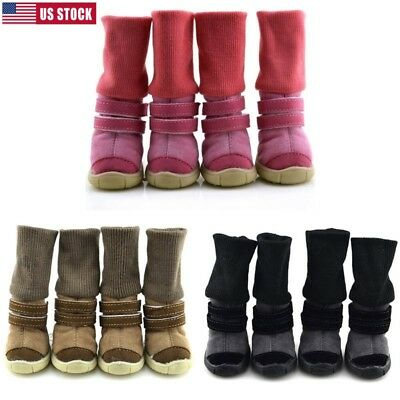 Winter Small Dog Boots Anti-Slip Puppy Shoes Pet Protective Snow Booties Booties