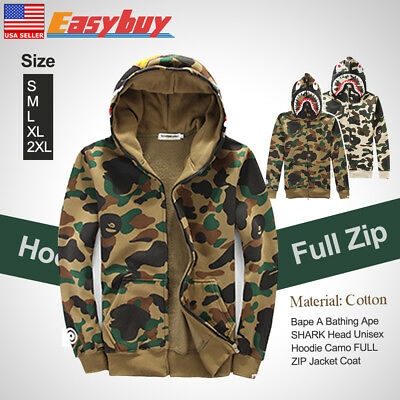 dc20af9b7e08 Cpe A Bathing Coat SHARK Head Hoodie Camo Unisex Pullover FULL ZIP Jacket
