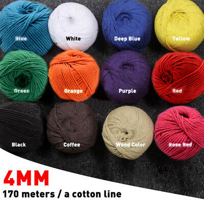 170m 4mm Macrame Rope Colorful Cotton Twisted Cord Artisan String DIY Hand Craft
