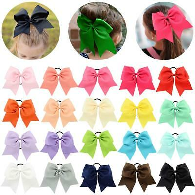 """20 Pcs Large Cheer Bows 8"""" Bulk Hair Bow Accessories with Ponytail Holder for"""