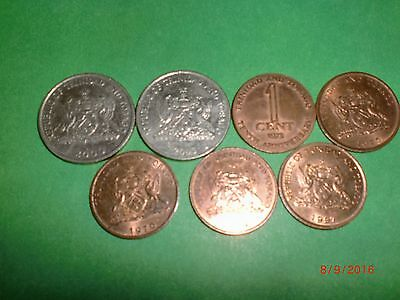 - Trinidad & Tobago -7 Coins –  Old & New - 1972- 2003 - All Different.# 7Ac