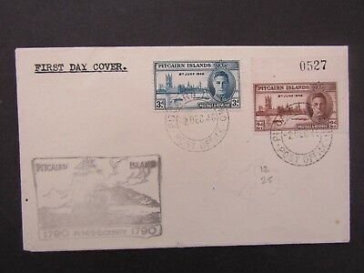 Pitcairn Island - 1946 Victory Set First Day Cover - Fine - Hms Bounty Cachet