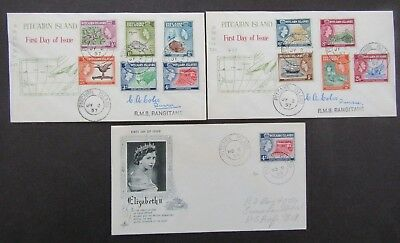 PITCAIRN ISLAND - 1957/8 DEFINITIVE SET ON 3 x  ILLUSTRATED FIRST DAY COVERS