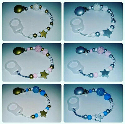 Personalised Dummy Clip for Boys and Girls/ Silver and Gold beads+Mam Adapter ⭐⭐