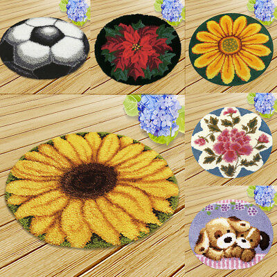 Round DIY Carpet Latch Hooking Kits Flowers Dogs Rug Making Kits for Adults