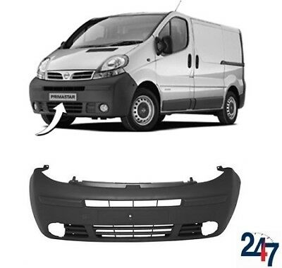 New Nissan Primastar 2001 - 2006 Black Front Bumper With Fog Light Holes