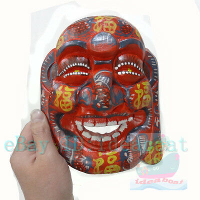 China Folk Art Wood Hand Carved Painted NUO MASK Walldecor-Happy Buddha tall20cm