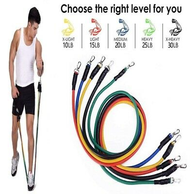 11Pc/Set Resistance Bands Exercise Yoga Fitness Workout Training Strength Tube.