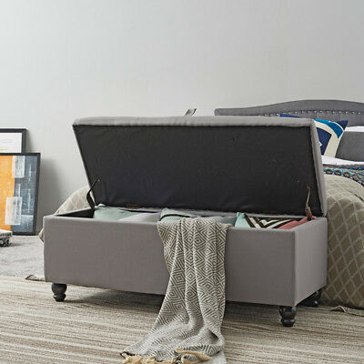 buy popular 7f2d3 46afa LARGE OTTOMAN STORAGE Box Linen Bed Foot Stool with Lid Blanket Seat Toy 4  Style