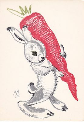 1964 RARE Little hare rabbit with big carrot by Laptev Russian Soviet postcard