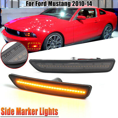 For 10-14 Ford Mustang Front Bumper Side Marker Led Lights Turin Signals Amber
