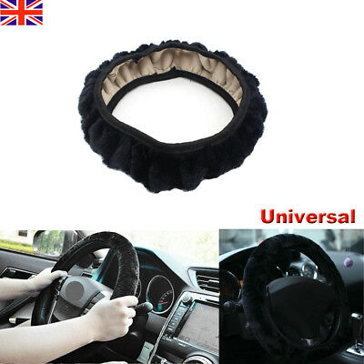 Universal Warm Plush Winter black Fluffy Steering Wheel Cover/Glove Soft