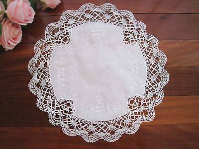 Beautiful Hand Bobbin Lace Flower Embroidery White Round Cotton Doily