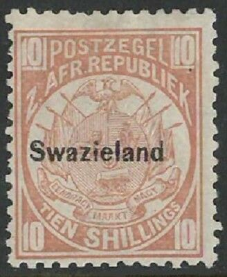 """SWAZILAND: 1889-90 10s value,MM with 1972 RPS Cert stating """"genuine"""" & """"creased"""""""