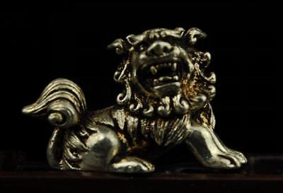 Chinese old hand carved copper plating silver lion statue a01